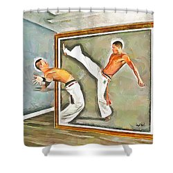Shower Curtain featuring the painting Night At The Art Gallery - Martial Artists by Wayne Pascall