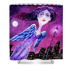 Shower Curtain featuring the painting Night In The City by Igor Postash
