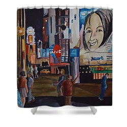 Night In Time Square Shower Curtain