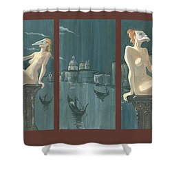 Night In Venice. Triptych Shower Curtain