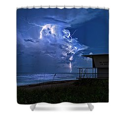 Night Lightning Under Full Moon Over Hobe Sound Beach, Florida Shower Curtain by Justin Kelefas