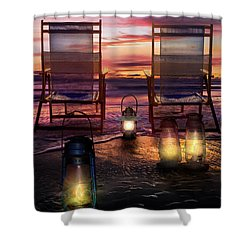 Shower Curtain featuring the photograph Night Lights At Sunset by Debra and Dave Vanderlaan