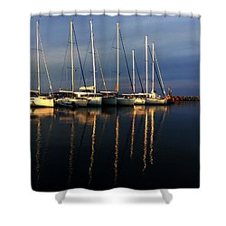 Night On Paros Island Greece Shower Curtain by Colette V Hera  Guggenheim