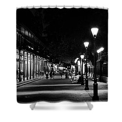 Night On St Peter Street In Black And White Shower Curtain