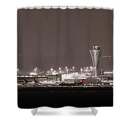 Shower Curtain featuring the photograph Night Operations by Alex Lapidus