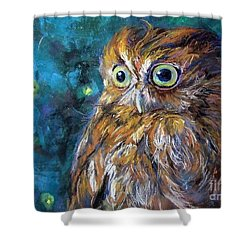 Shower Curtain featuring the painting Night Owl by Jieming Wang