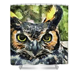 Shower Curtain featuring the mixed media Night Owl by Trish Tritz