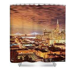 Night Panorama Of San Francisco And Oak Area Bridge From Ina Coolbrith Park - California Shower Curtain