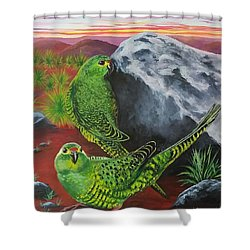 Night Parrots Shower Curtain