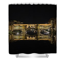 Night Reflections Of The Ponte Vecchio Shower Curtain