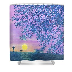 Shower Curtain featuring the painting Night Runner by Susan DeLain
