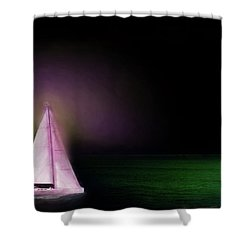 Shower Curtain featuring the painting Night Sailing by Michael Cleere