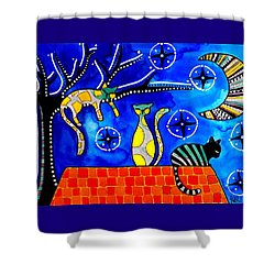 Night Shift - Cat Art By Dora Hathazi Mendes Shower Curtain by Dora Hathazi Mendes
