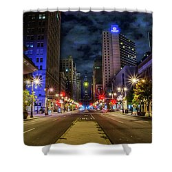 Shower Curtain featuring the photograph Night Shot Of Broad Street - Philadelphia by Bill Cannon