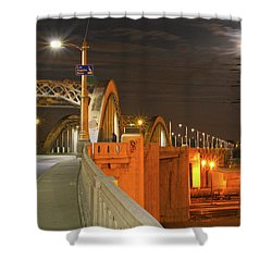 Night Shot Of The Los Angeles 6th Street Bridge And Supermoon #1 Shower Curtain
