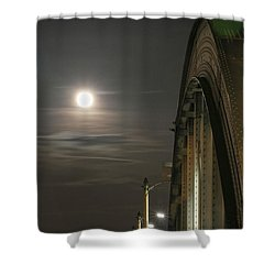 Night Shot Of The Los Angeles 6th Street Bridge And Supermoon #2 Shower Curtain
