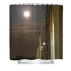 Night Shot Of The Los Angeles 6th Street Bridge And Supermoon #3 Shower Curtain