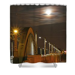 Night Shot Of The Los Angeles 6th Street Bridge And Supermoon #4 Shower Curtain