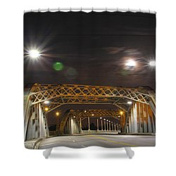 Night Shot Of The Los Angeles 6th Street Bridge And Supermoon #5 Shower Curtain