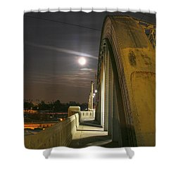 Night Shot Of The Los Angeles 6th Street Bridge And Supermoon #6 Shower Curtain