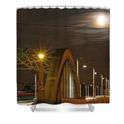 Night Shot Of The Los Angeles 6th Street Bridge And Supermoon #7 Shower Curtain