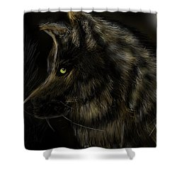 Shower Curtain featuring the digital art Night Silent Wolf by Darren Cannell