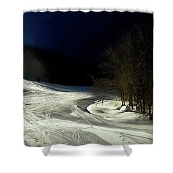 Shower Curtain featuring the photograph Night Skiing At Mccauley Mountain by David Patterson