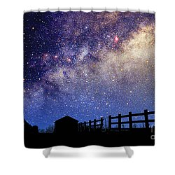 Night Sky Shower Curtain by Larry Landolfi and Photo Researchers