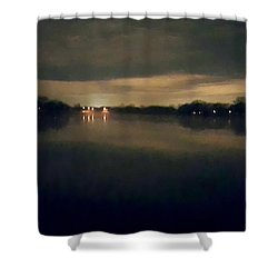Night Sky Over Lake With Clouds Shower Curtain
