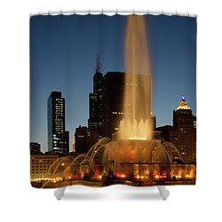 Night Time Fountain Shower Curtain