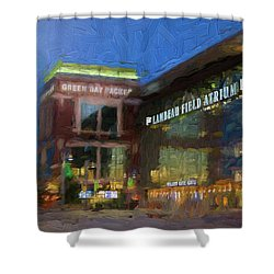 Shower Curtain featuring the digital art Night Time Lambeau by Joel Witmeyer