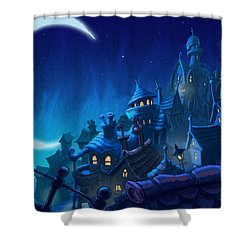 Night Town Shower Curtain by Andy Catling