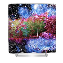 Night Trees Starry Lake Shower Curtain