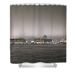 Night View Ocean City Downtown Skyline Shower Curtain