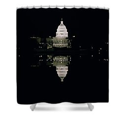 Night View Of The Capitol Shower Curtain by American School