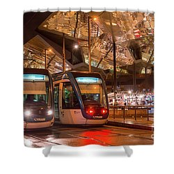 Night View Of Two Trams At Glories Station  Shower Curtain