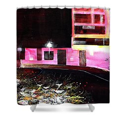 Shower Curtain featuring the painting Night Walk by Anil Nene