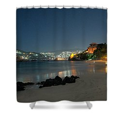 Shower Curtain featuring the photograph Night Walk On La Ropa by Jim Walls PhotoArtist