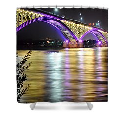 Night Walk On The Break Wall Shower Curtain