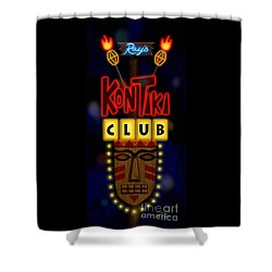 Nightclub Sign Rays Kon Tiki Club Shower Curtain