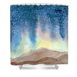 Shower Curtain featuring the painting Nightfall by Andrew Gillette
