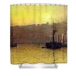 Nightfall In Scarborough Harbour Shower Curtain by John Atkinson Grimshaw