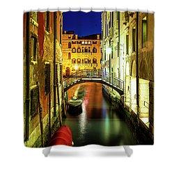 Nightfall In Venice Shower Curtain by Andrew Soundarajan