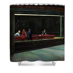 Nighthawks Shower Curtain by Antonio Ortiz