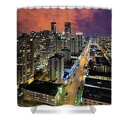 Nightlife On Robson Street Shower Curtain by David Gn