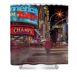 Nights On Broadway Shower Curtain by Az Jackson