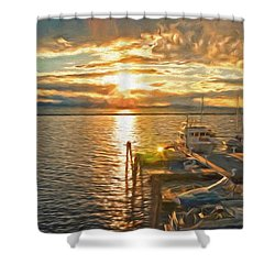 Nighttime Dockage Shower Curtain