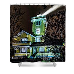 Shower Curtain featuring the photograph Nighttime Fog At Hereford Inlet by Nick Zelinsky