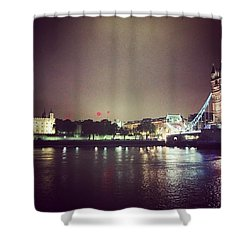 Nighttime In London Shower Curtain by Nancy Ann Healy