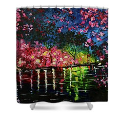 Nighttime Pink Shower Curtain